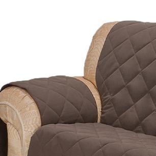 Protetor Para Sofá De 02 Lugares Com Assento De 90CM Microfibra Matelado - Tabaco