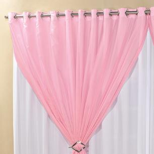 Cortina Com Ilhós Microfibra Com Voil Lucia 3,00M x 2,80M Para Varão Simples - Rosa Com Branco