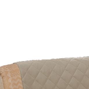 Protetor De Sofá Microfibra Matelado Retrátil Reclinável Com Assento De 1,50M - Cáqui