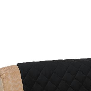 Protetor De Sofá Microfibra Matelado Retrátil Reclinável Com Assento De 2,00M - Preto