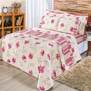 Kit Cobre Leito Matelado Estampado Casal Queen 3 Peças Tecido Misto Percal 180 Fios Requinte - Floral Rosê