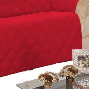 Protetor De Sofá Microfibra Matelado Retrátil Reclinável Com Assento De 2,10M - Vermelho