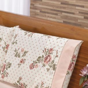 Jogo De Cama Ponto Palito Estampado Casal Padrão 4 Peças Tecido Misto Percal 180 Fios Requinte - Floral Salmão