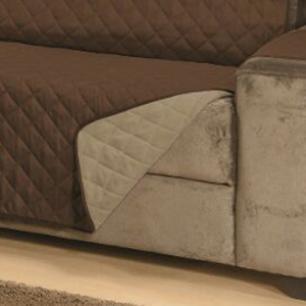 Protetor Para Sofá De 03 Lugares Com Assento de 1,50M Microfibra Dupla Face Manu - Cáqui Com Tabaco