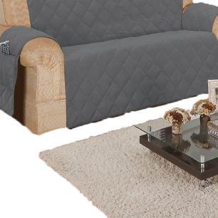 Protetor Para Sofá De 03 E 02 Lugares Microfibra Matelado - Chumbo