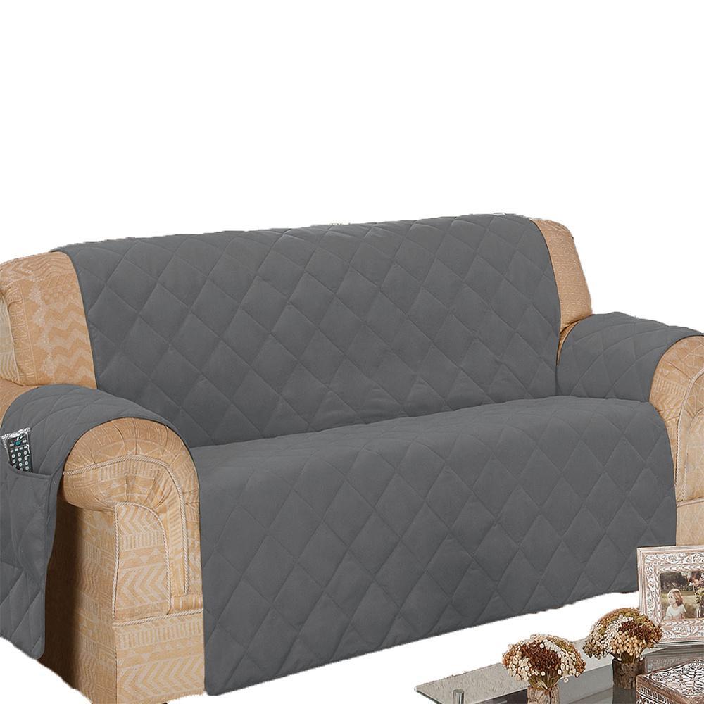 Protetor De Sofá Microfibra Matelado Retrátil Reclinável Com Assento De 1,70M - Chumbo