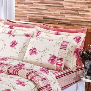 Kit Edredom Dupla Face Estampado Casal King 03 Peças Tecido Misto Percal 180 Fios Requinte - Floral Rosê