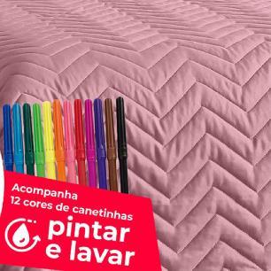 Cobre Leito Solteiro Matelado Ultrassônico Tecido Microfibra Kit 07 Peças Diverkids - Rosê
