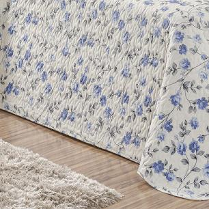 Kit Cobre Leito Matelado Estampado Casal Queen 3 Peças Tecido Misto Percal 180 Fios Requinte - Floral Azul