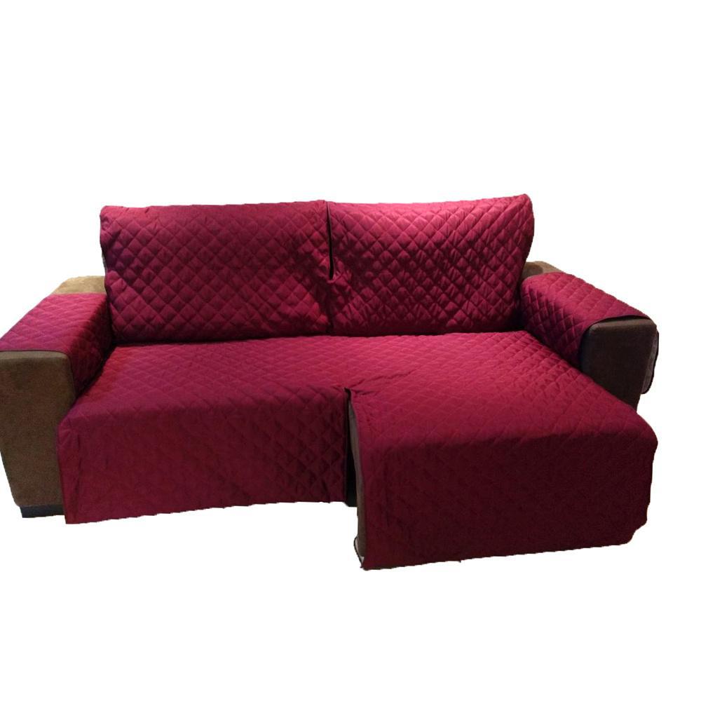 Protetor Para Sofá De 2 Módulos Microfibra Matelado Retrátil Reclinável Com Assento De 2,10M - Vinho