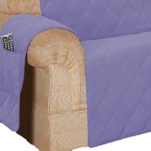 Protetor De Sofá Microfibra Matelado Retrátil Reclinável Com Assento De 2,30M - Lilás