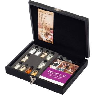Caixa Madeira MDF com 10 Aromas de Vinho Manual e Saca-rolha