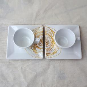 Duo Xícara de Café Casal Paz com Pires