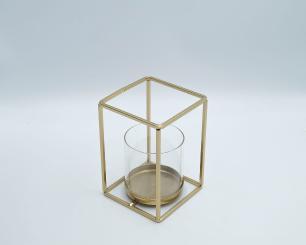 Porta Vela Suporte Metal Dourado Com Vidro