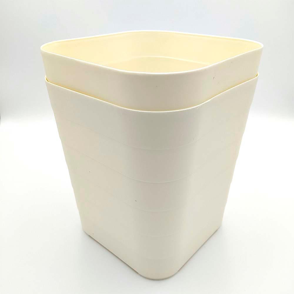 2 Lixeiras Quadradas em Plástico 9 Litros - Cream