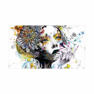 Quadro Impresso em Vidro Decorativo Roncalli Rosto Abstrato