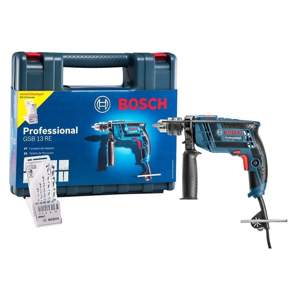 Furadeira de Impacto Bosch 1/2 GSB13, 650W com Maleta e 5 Brocas, Azul - 110V
