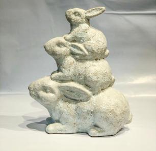 Trio Coelho Decorativo de Ceramica