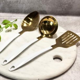 Kit Concha Branco e Dourado