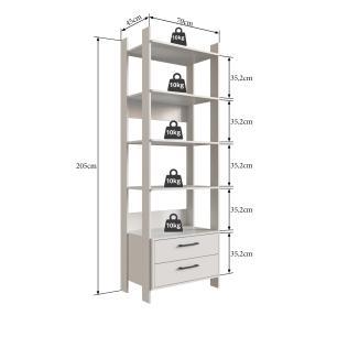 Closet Aberto com 2 Gavetas e 4 Prateleiras Off White - Completa Móveis