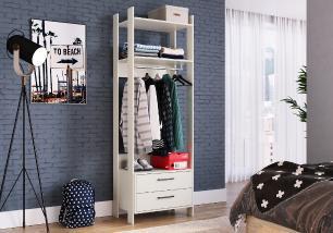 Closet Aberto com 2 Gavetas e 1 Cabide Off White - Completa Móveis