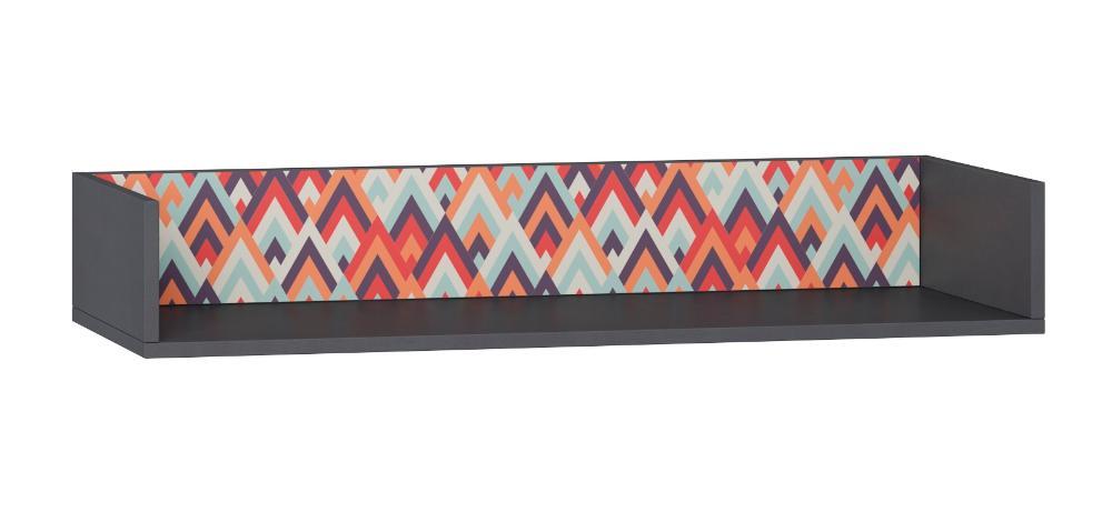 Prateleira Longa Retrô 92cm em Espresso e Estampa Vermelha - BE Mobiliário