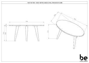 Mesa de Centro Oval Retrô em Espresso - BE Mobiliário