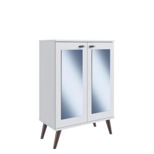 Estante Retrô de 2 Portas com 2 Espelhos e 3 Prateleiras em Branco e Base Madeira - Completa Móveis