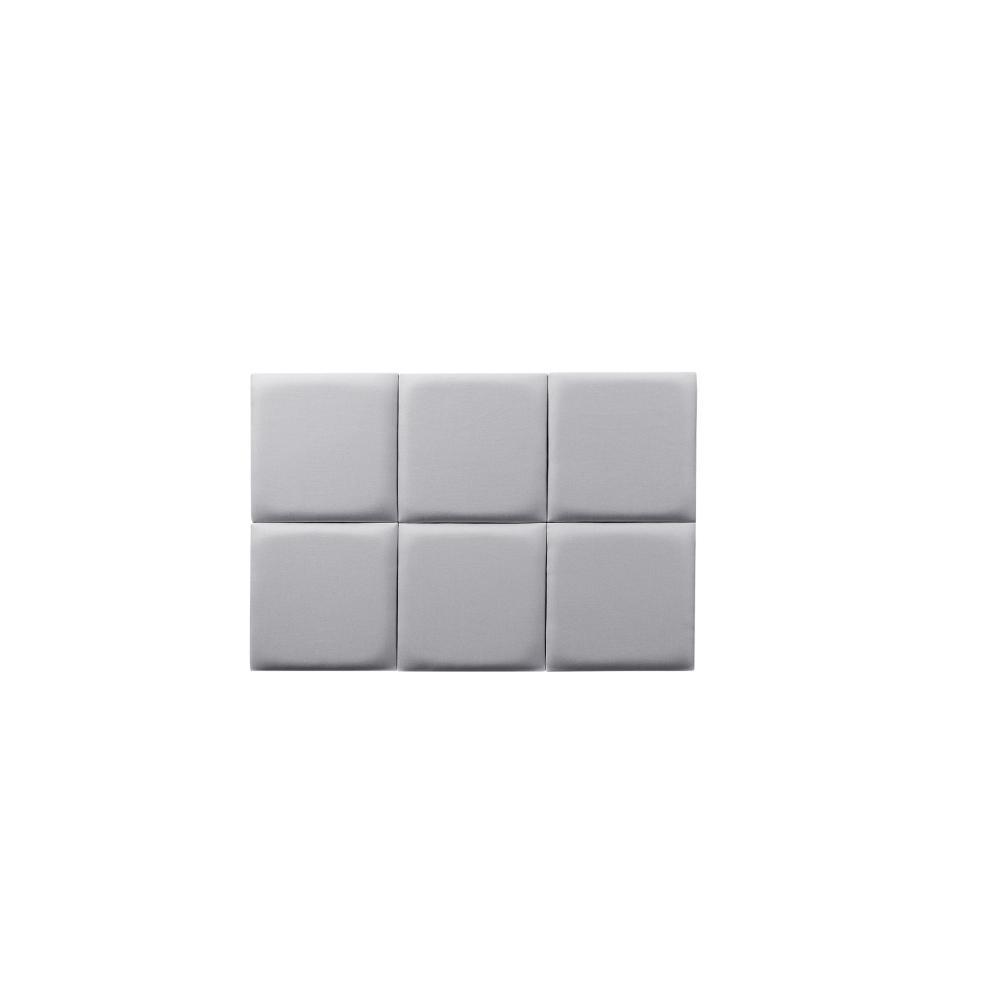 Cabeceira Estofada Adesiva de Solteiro em Cinza Cube - Mude