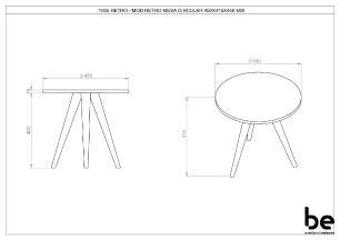 Mesa Lateral Retrô 40cm em Branco TX - BE Mobiliário