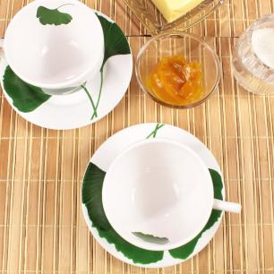 Xícara De Chá Leaves Branco Verde