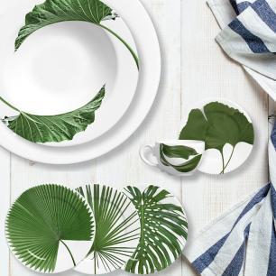 Prato De Sobremesa 20cm Leaves Branco Verde