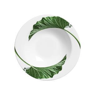 Prato Fundo 22cm Leaves Branco Verde