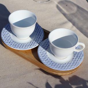 Xícara De Café Abacaxi Provence Branco Azul