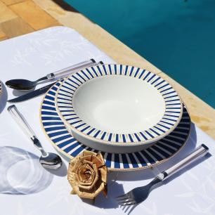 Prato Fundo 22cm Art Deco Branco Azul