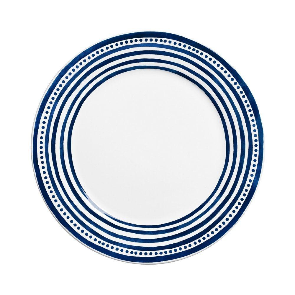 Prato Raso 27cm Ibiza Branco Azul