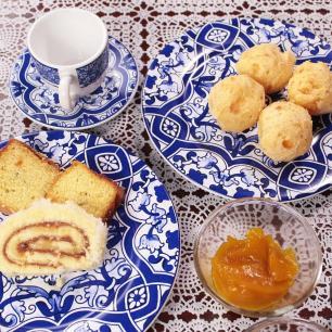 Prato De Sobremesa 20cm Aveiro Branco Azul