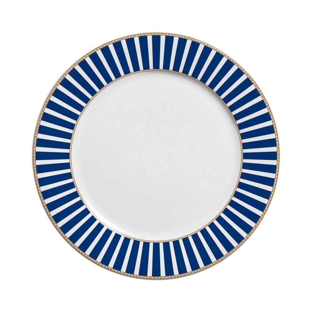 Prato Raso 27cm Art Deco Branco Azul