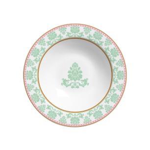 Prato Fundo 22cm Damask Branco Verde