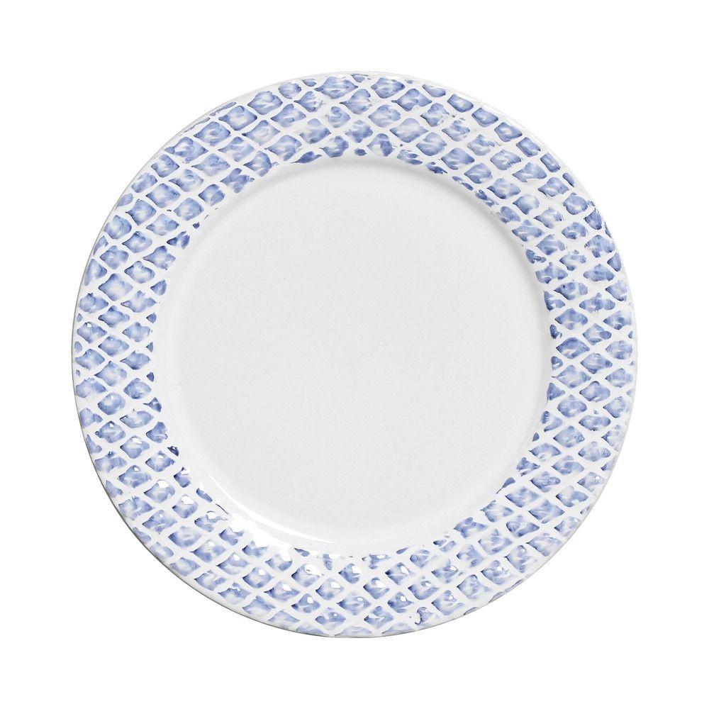 Prato Raso 28cm Abacaxi Provence Branco Azul