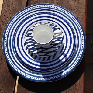 Prato De Sobremesa 20cm Ibiza Branco Azul