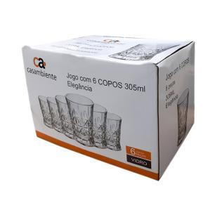Jogo de Copos Elegância 305ml 6 peças- Casambiente COPO068