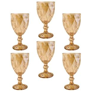 Taças de Vidro 325ml 6 peças Diamond Âmbar Metalizado - Lyor