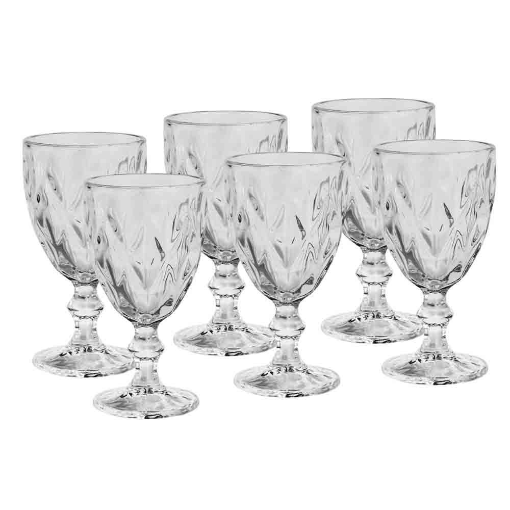 Taças de Vidro 265ml 6 peças Diamond Transparente - Lyor
