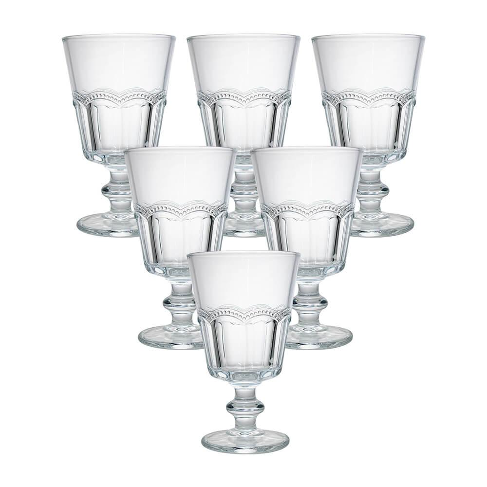 Conjunto de 6 Taças Transparente Renda 260ml - Casambiente
