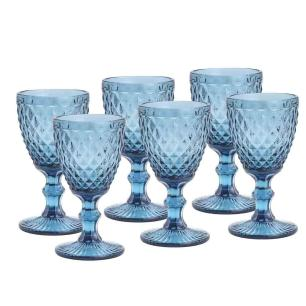 Taças de Vidro 325ml 6 peças Bico de Abacaxi Azul - Lyor