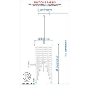Kit 1 Lustre Redondo Crilik Ls7302+1Ls7301+1Pl7301 Cr c/Lam
