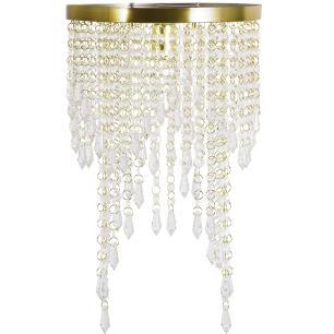 Lustre Pendente Plafon Redondo Cristal Crilik Pl7302 Dourado