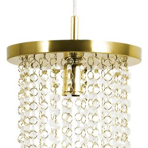 Kit 1 Lustre Redondo Crilik Ls7301 Dourado c/Lamp.