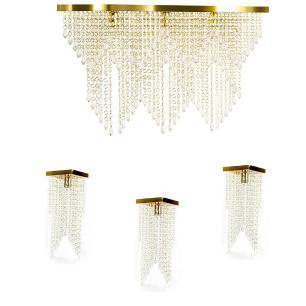 Kit 1 Império Cristal Crilik Pl7204 + 3 Pl7201 Dourado